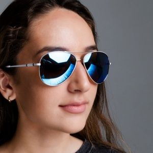 Accessories - SILVER AVIATORS MIRRORED SUNGLASSES BLUE LENS